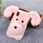 3D Cute Dog Pattern Soft Fur Coated Rhinestone TPU Casing for iPhone XS/X – Pink