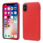 For iPhone X PU Leather Coated PC Protection Case – Red