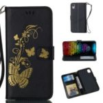 For iPhone XR 6.1 inch Lacquered Butterfly Wallet Stand Leather Case – Black