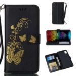 Lacquered Butterfly Leather Wallet Case with Strap for iPhone XS Max 6.5 inch – Black