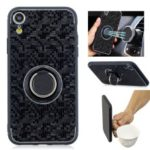 For iPhone XR 6.1 inch Mosaic Pattern Metal PC TPU Hybrid Phone Case with Finger Ring Kickstand – Black