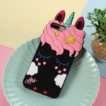 3D Unicorn Pattern Silicone Back Case for iPhone 8 Plus / 7 Plus 5.5 inch – Black