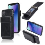 Oil Buffed Crazy Horse PU leather Coated TPU Card Holder Back Shell with Kickstand for iPhone XS/X 5.8 inch – Black