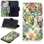 Pattern Printing Light Spot Decor Leather Wallet Case for iPhone XR 6.1 inch – Leaves