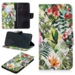 Pattern Printing Light Spot Decor Leather Wallet Case for iPhone XS Max 6.5 inch – Leaves