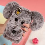 Dog Pattern Fluffy Fur Coated TPU Case for iPhone XR 6.1 inch – Grey