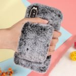 For iPhone XS Max 6.5 inch Case [Wrist Strap] Soft Faux Fur Coated Rhinestone TPU Case – Grey