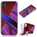 Marble Pattern Splicing Leather Texture TPU Back Case for iPhone XS/S – Purple