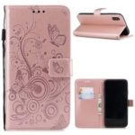 Imprinted Butterfly Flower PU Leather Mobile Case for iPhone XS/X 5.8 inch – Rose Gold
