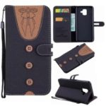 For Samsung Galaxy A6 (2018) Case [Imprint Women Bow-tie] [Button Decor] [Strap] Splicing Leather Stand Cover – Black