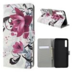 Pattern Printing PU Leather Magnetic Wallet Stand Case for Samsung Galaxy A7 (2018) – Purple Flower