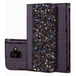Crocodile Texture Glittery Sequins Splicing Leather Auto-absorbed Case for Samsung Galaxy A6 (2018) – Black