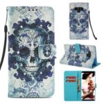 Pattern Printing Rhinestone Decor Leather Cell Phone Cover for Samsung Galaxy Note9 N960 – Flowered Skull