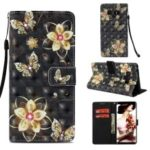 Patterned Rhinestone PU Leather Case for Samsung Galaxy Note9 N960 Light Spot Decor Wallet Stand with Strap – Gold Butterflies and Flowers
