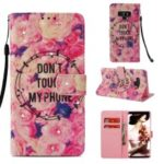 Pattern Printing Rhinestone Decor Wallet Leather Case for Samsung Galaxy Note9 N960 – Do Not Touch My Phone