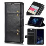Crazy Horse Rivet Stand Wallet Magnetic Leather Mobile Phone Case for Samsung Galaxy J4+ – Black