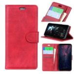 For Samsung Galaxy A7 (2018) Matte PU Leather Wallet Magnetic Protective Case – Red