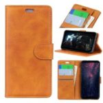 For Samsung Galaxy A7 (2018) Matte PU Leather Wallet Magnetic Protective Cellphone Case – Brown