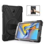 360 Degree Swivel Kickstand PC + Silicone Combo Case with Hand Holder Strap for Samsung Galaxy Tab A 8.0 (2018) T387 – All Black