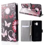Pattern Printing Wallet Leather Flip Case for Samsung Galaxy J6+/J6 Prime – Butterfly and Flower