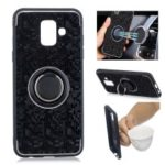 For Samsung Galaxy A6 (2018) Finger Ring Kickstand Mosaic Pattern Hybrid Case – Black