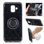 For Samsung Galaxy A6 (2018) Finger Ring Kickstand Mosaic Pattern Hybrid Case – Black