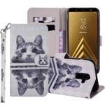 Light Spot Decor Pattern Printing Wallet Stand Leather Flip Case for Samsung Galaxy A6+ (2018) / A9 Star Lite – Cute Cat