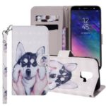 Light Spot Decor Pattern Printing Wallet Stand Leather Flip Case for Samsung Galaxy A6 (2018) – Dog
