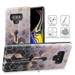 Embossment Rhombus Grid Pattern TPU + Plastic Combo Mobile Phone Case with Kickstand for Samsung Galaxy Note9 N960 – Pink/Black