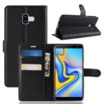 Litchi Skin Leather Stand Cover with Card Slots for Samsung Galaxy J6 Plus – Black