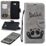 Imprinted Hello Panda Wallet Stand Leather Mobile Case for Samsung Galaxy J4 Plus / J4 Prime – Grey