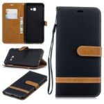 Two-tone Jean Cloth Leather Wallet Stand Cellphone Case for Samsung Galaxy J4 Plus / J4 Prime – Black