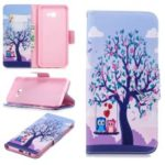 Pattern Printing PU Leather Magnetic Wallet Stand Mobile Phone Case for Samsung Galaxy J4 Plus / J4 Prime – Owls on Swing