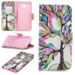 Pattern Printing PU Leather Case with [Wallet Stand] for Samsung Galaxy J4+ / J4 Prime – Colorized Tree
