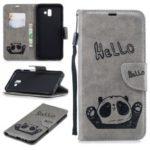 Imprinted Hello Panda PU Leather Case for Samsung Galaxy J6+ / J6 Prime – Grey
