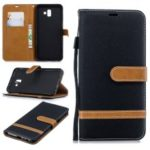 Two-tone Jean Cloth PU Leather Flip Case for Samsung Galaxy J6+ / J6 Prime – Black