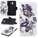 Pattern Printing Leather Mobile Case Cover Shell for Samsung Galaxy J6 Plus / J6 Prime – Butterfly and Flower