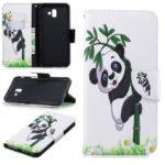 Patterned Wallet Leather Flip Case Accessory for Samsung Galaxy J6+ / J6 Prime – Panda on Bamboo