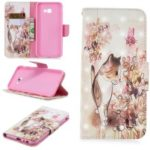 Pattern Printing Wallet Stand Leather Cover for Samsung Galaxy J4+ / J4 Prime – Cat and Flower
