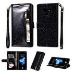 Flash Powder Zippered Stand Leather Wallet Casing with Strap for Samsung Galaxy Note9 N960 – Black