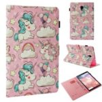Pattern Printing Light Spot Decor Wallet Smart Leather Case for Samsung Galaxy Tab A 10.5 (2018) T590 T595 – Shy Unicorn