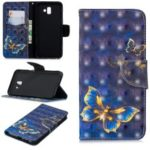 Pattern Printing Light Spot Decor Leather Wallet Case for Samsung Galaxy J6+ – Blue Butterfly
