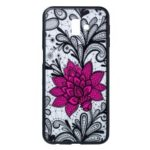 Embossed Flower Pattern TPU + PC Combo Mobile Phone Case for Samsung Galaxy J6+ – Big Red Flower
