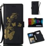 Lacquered Butterfly Leather Wallet Case with Strap for Samsung Galaxy Note9 N960 – Black