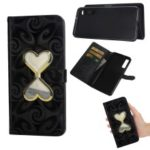 Love Heart Hourglass Quicksand PU Leather Case for Samsung Galaxy A7 (2018) – Black
