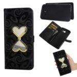 Glitter Powder Quicksand Double-heart Hourglass Leather Case for Samsung Galaxy J4+ / J4 Prime – Black