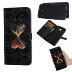 Patterned Leather Case for Samsung Galaxy J4+ / J4 Prime [Dynamic Glitter Powder Double-heart Hourglass] – Black