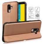 PC TPU Dual Layer Hybrid Case with Kickstand and Card Slot for Samsung Galaxy J8 (2018) / Galaxy On8 in India – Rose Gold