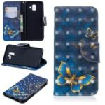 Patterned Wallet Leather Magnetic Case for Samsung Galaxy A6 (2018) – Gold and Blue Butterfly