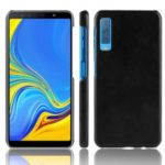 Litchi Skin Leather Coated Hard Back Case for Samsung Galaxy A7 (2018) – Black